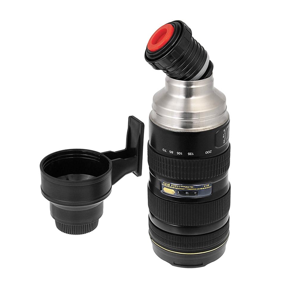Cameralens thermosfles met koffiemok