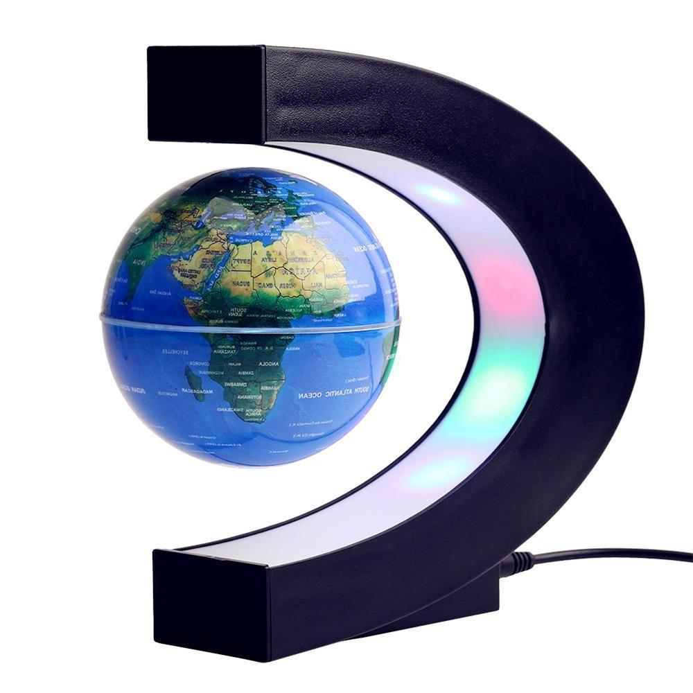 Zwevende Wereldbol met LED – C-vorm voor op kantoor.