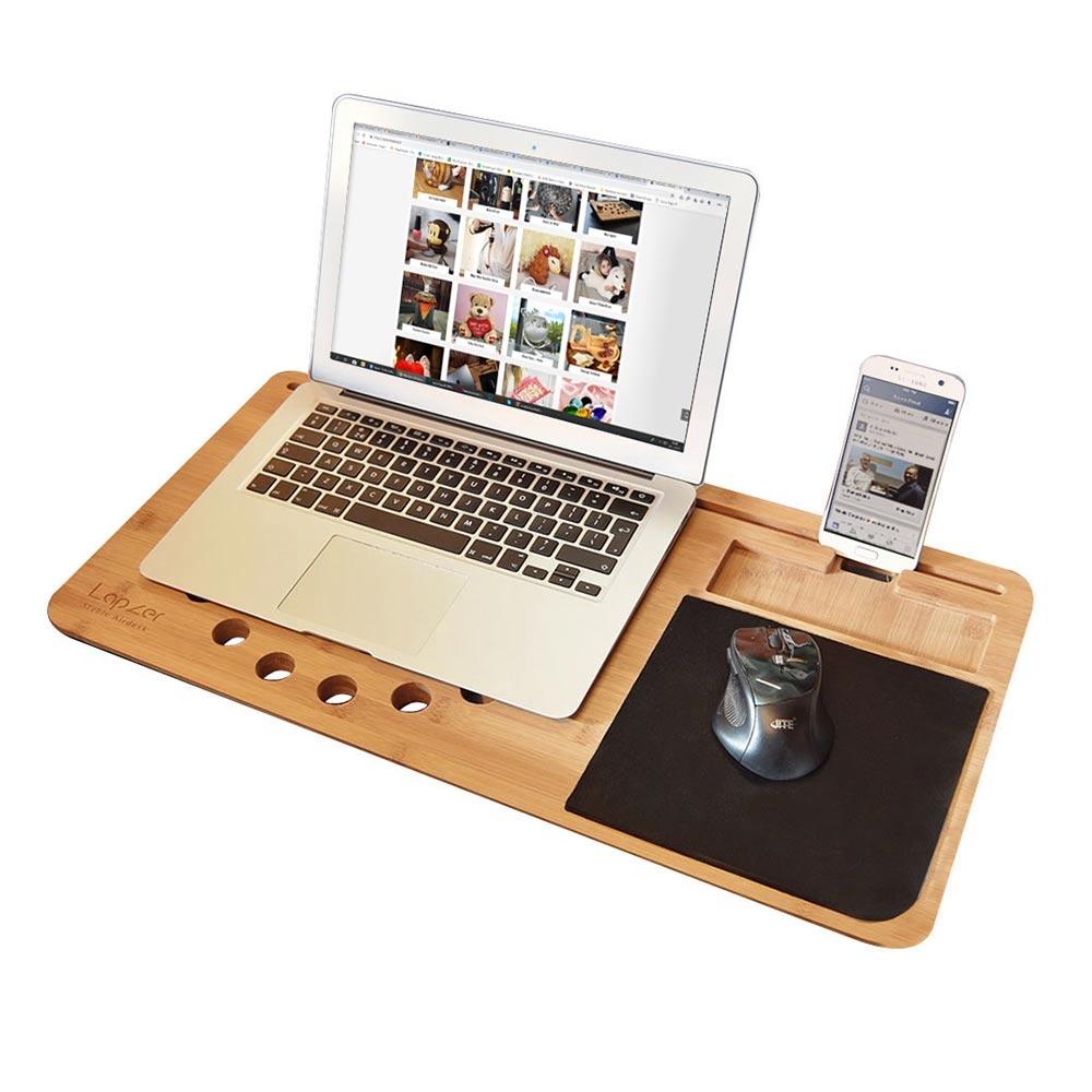 Het grootste draagbaren laptop bureau, de Lap Desk Lapzer - Bamboe